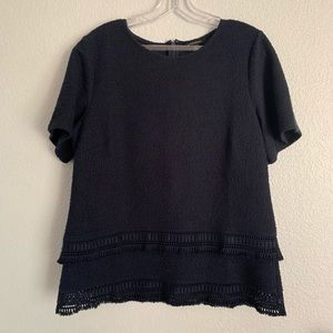 Banana Republic | Navy blue textured crochet top M